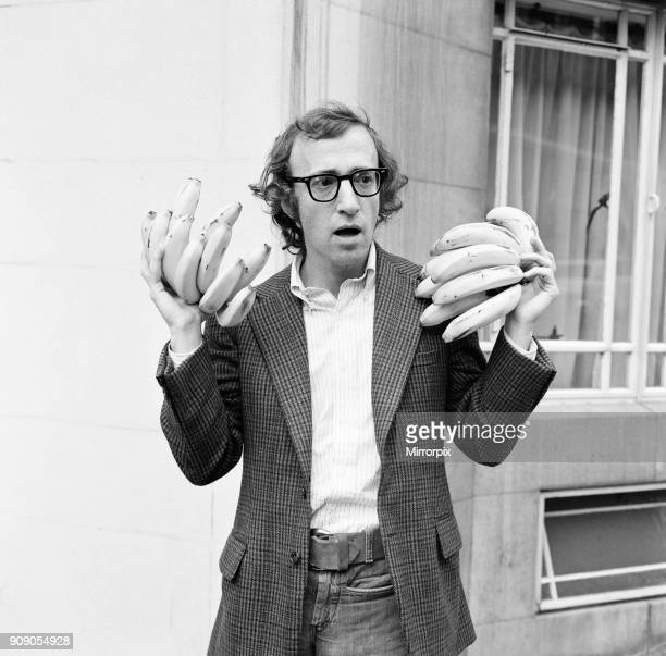 Woody Allen comedian actor and writer in London to promote his new film Bananas pictured outside the Dorchester Hotel London 21st July 1971