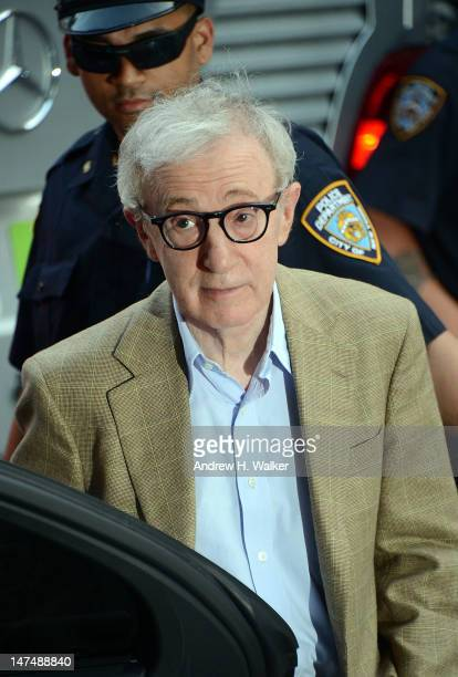 Woody Allen departs Alec Baldwin and Hilaria Thomas' wedding ceremony at St Patrick's Old Cathedral on June 30 2012 in New York City
