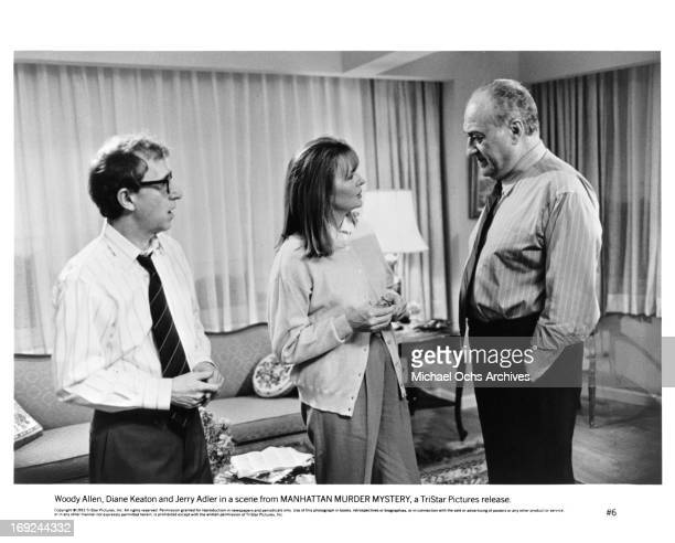 Woody Allen Diane Keaton and Jerry Adler in a scene from the film 'Manhattan Murder Mystery' 1993
