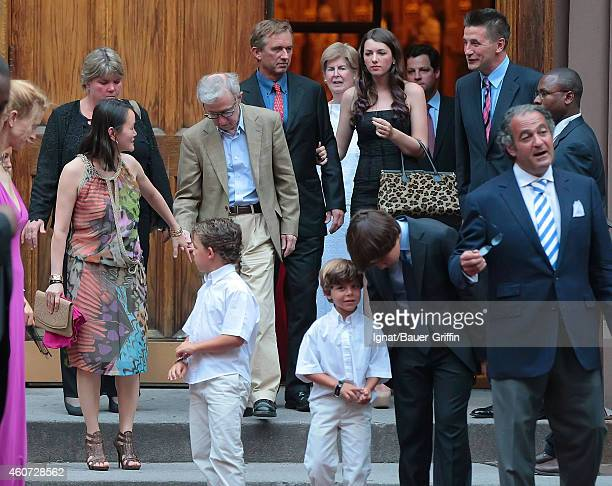 Woody Allen his wife SoonYi Previn and Billy Baldwin are seen attending Alec Baldwin and Hilaria Thomas' wedding ceremony at St Patrick's Old...