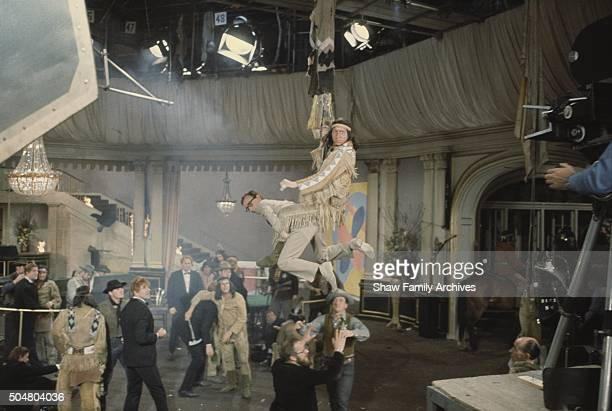 Woody Allen in an action sequence in 1967 during the filming of Casino Royale in London United Kingdom