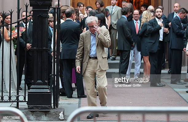 Woody Allen is seen attending Alec Baldwin and Hilaria Thomas' wedding ceremony at St Patrick's Old Cathedral on July 01 2012 in New York City
