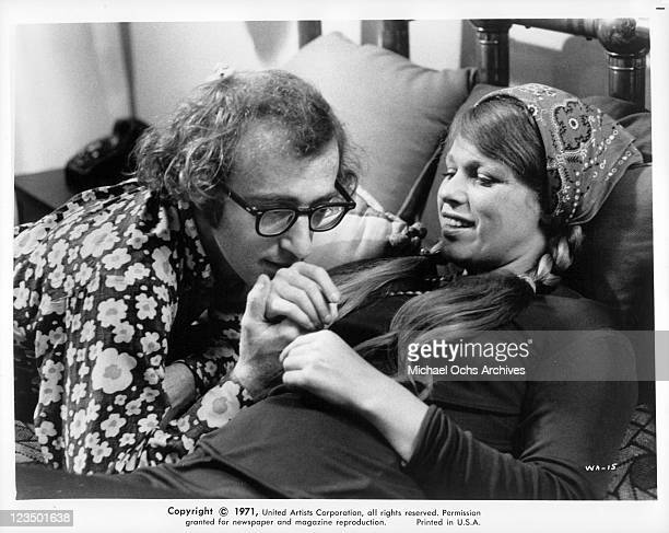 Woody Allen kissing Louise Lasser hand in a scene from the film 'Bananas' 1971
