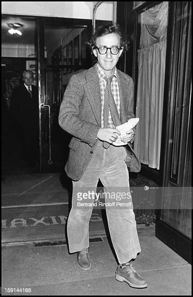 Woody Allen leaving Maxim's restaurant in Paris in 1981