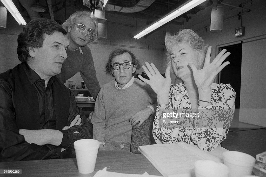 Woody Allen Talking with Affiliates in Recent Play : News Photo