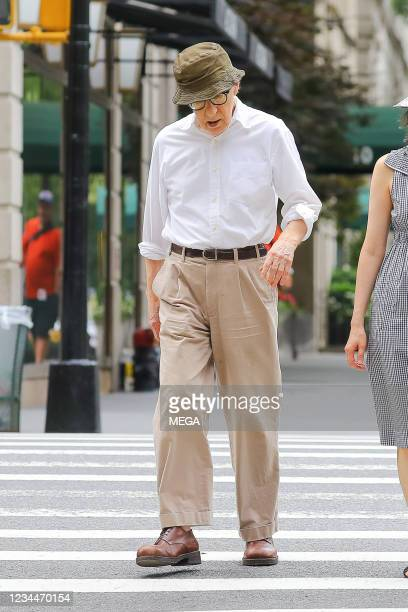 Woody Allen spotted walking on August 03, 2021 in New York City, New York.