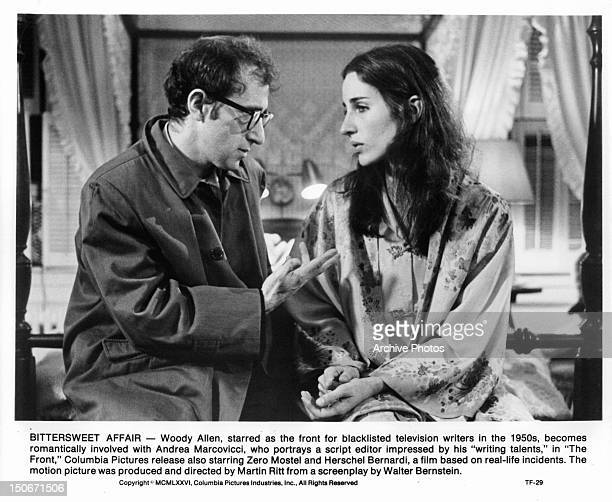 Woody Allen talking to Andrea Marcovicci on the bed in a scene from the film 'The Front' 1976