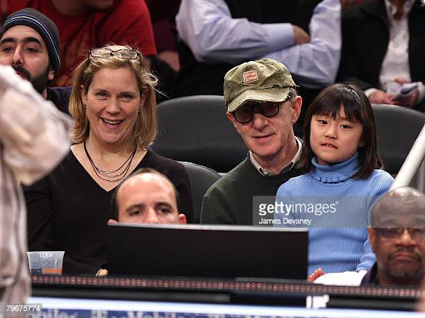 Woody Allen with daughter Bechet Dumaine Allen and guest attend San Antonio Spurs vs NY Knicks game at Madison Square Garden in New York City on...