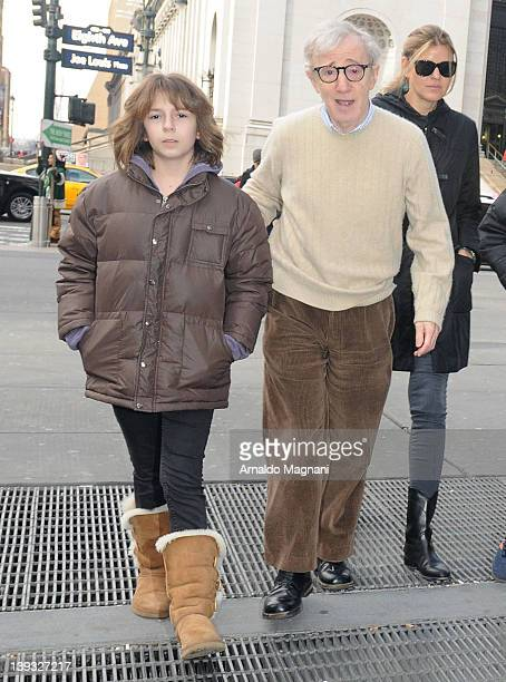 Woody Allen with his daughter Manzie at the Knicks vs Mavericks game held at Madison Square Garden on February 19 2012 in New York City