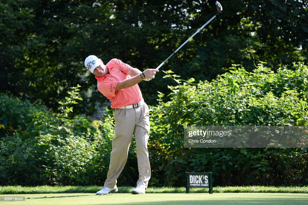 Woody Austin tees off on the 15th hole during the second round of the PGA TOUR Champions DICK'S Sporting Goods Open at En-Joie Golf Course on August 19, 2017 in Endicott, New York.