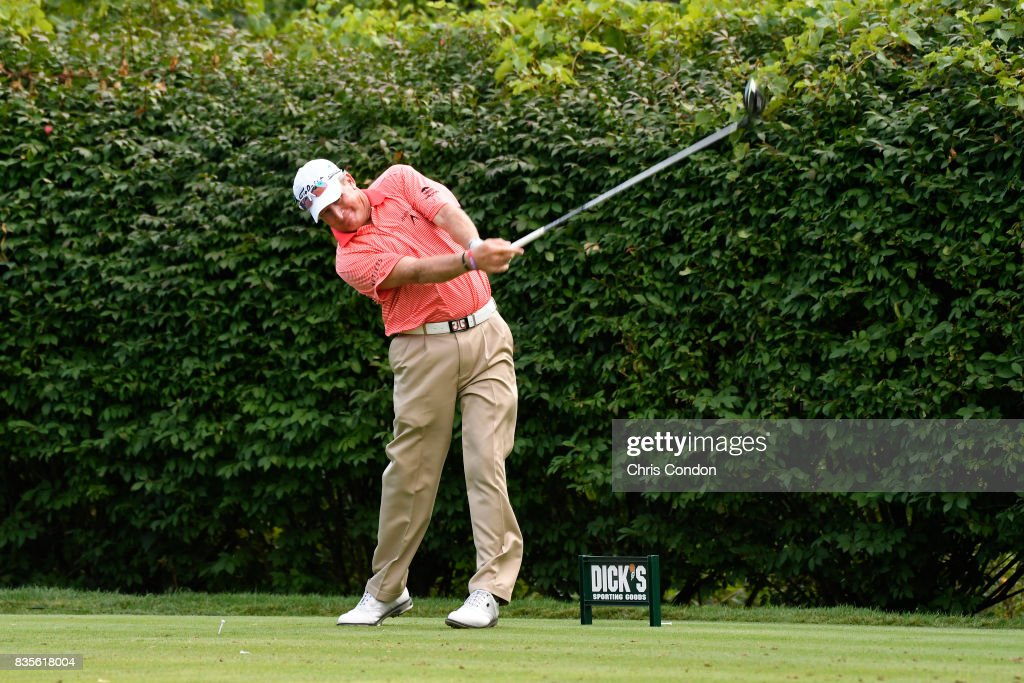 Woody Austin tees off on the 16th hole during the second round of the PGA TOUR Champions DICK'S Sporting Goods Open at En-Joie Golf Course on August 19, 2017 in Endicott, New York.