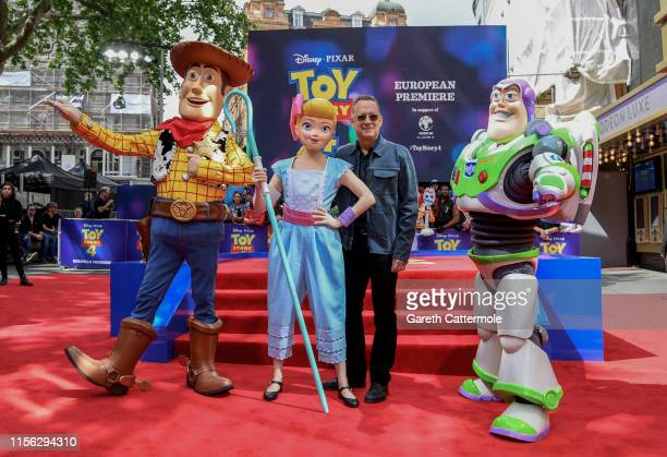 Woody Bo Peep Tom Hanks and Buzz Lightyear attend the European premiere of Disney and Pixar's Toy Story 4 at the Odeon Luxe Leicester Square on June...