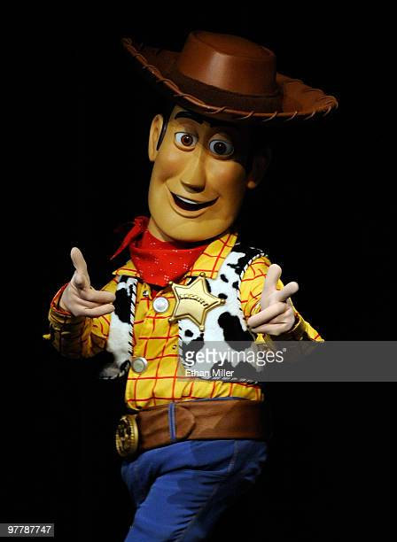 Woody character appears onstage to introduce a screening of the film Toy Story 3 at the Paris Las Vegas during ShoWest the official convention of the...