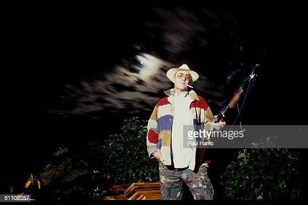 Woody Creek ColoradoMidnite And Hunter Thompson The Gonzo Journalist Armed With A Shotgun At His Rocky Mountain Cabin In 1998 The Movie Fear And...