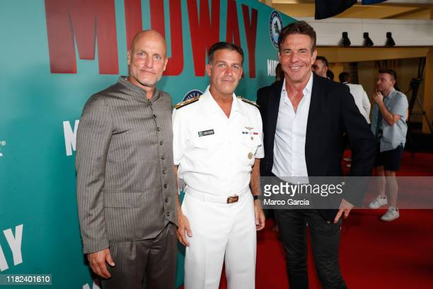 Woody Harrelson Admiral John C Aquilino Commander of the United States Pacific Fleet and Dennis Quaid arrive at the Midway Special Screening at Joint...