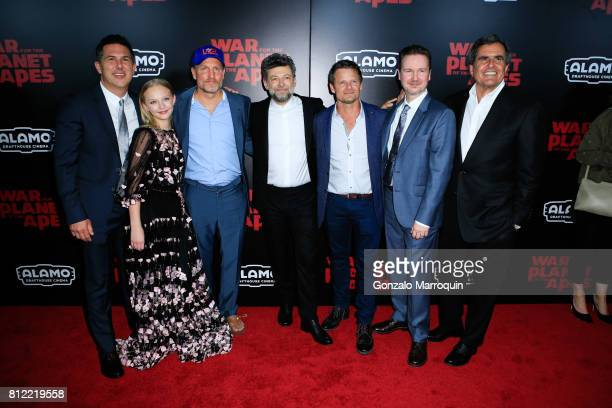 """Woody Harrelson, Amiah Miller,Steve Zahn;Andy Serkis,Matt Reeves attend the """"War For The Planet Of The Apes"""" New York Premiere at SVA Theatre on July..."""