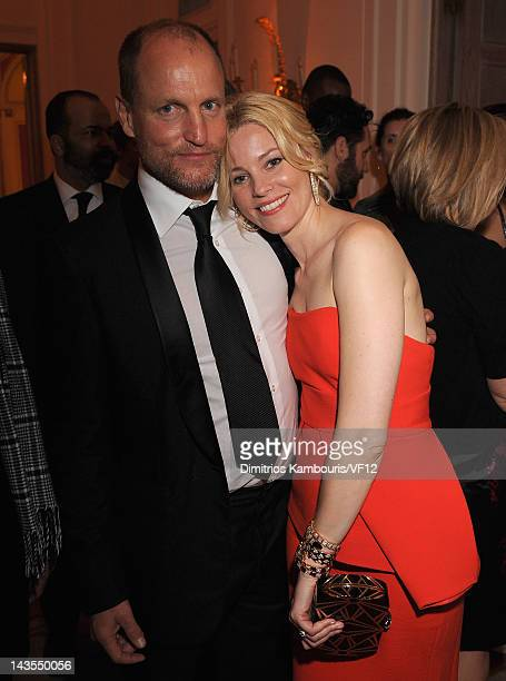 Woody Harrelson and Elizabeth Banks attend the Bloomberg Vanity Fair cocktail reception following the 2012 White House Correspondents' Association...