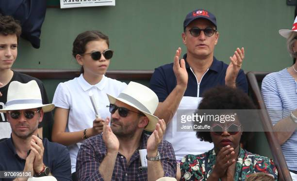 Woody Harrelson and his daughter Makani Harrelson attend the women's final during Day 14 of the 2018 French Open at Roland Garros stadium on June 9...