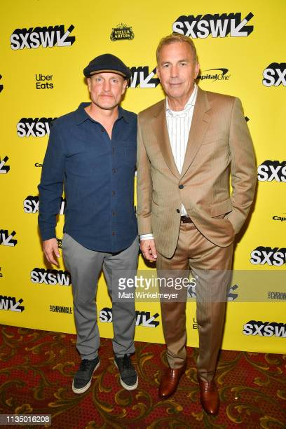Woody Harrelson and Kevin Costner attends The Highway Man Premiere 2019 SXSW Conference and Festivals at Paramount Theatre on March 10 2019 in Austin...
