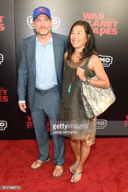Woody Harrelson and Laura Louie attend 'War for the Planet Of The Apes' premiere at SVA Theater on July 10 2017 in New York City