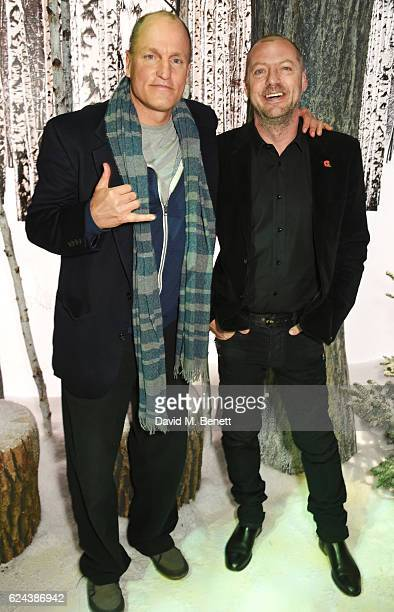 Woody Harrelson and Matthew Freud attend Claridge's Christmas Tree 2016 Party with tree designed by Sir Jony Ive and Marc Newson at Claridge's Hotel...