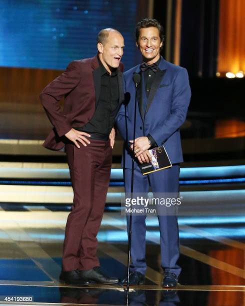 Woody Harrelson and Matthew McConaughey speak onstage during the 66th Annual Primetime Emmy Awards held at Nokia Theatre LA Live on August 25 2014 in...