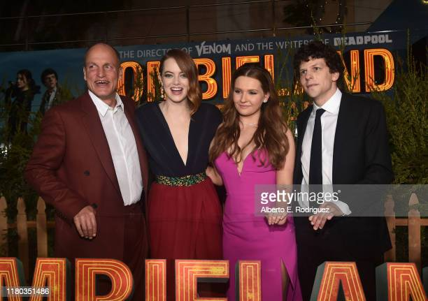 Woody Harrelson Emma Stone Abigail Breslin and Jesse Eisenberg attend the premiere of Sony Pictures' Zombieland Double Tap at The Regency Village...