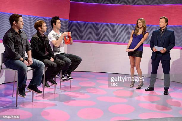 LIVE Woody Harrelson Episode 1668 Pictured Beck Bennett Kyle Mooney Taran Killam Cecily Strong and Woody Harrelson during the Match'd skit on...