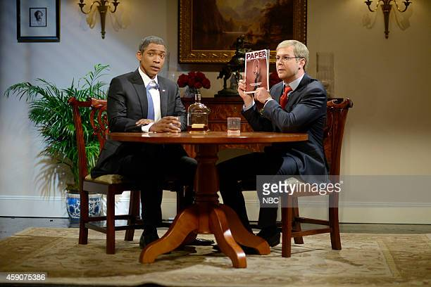 LIVE 'Woody Harrelson' Episode 1668 Pictured Jay Pharoah as President Obama and Taran Killam as Senator Mitch McConnell during the 'A Drink at the...