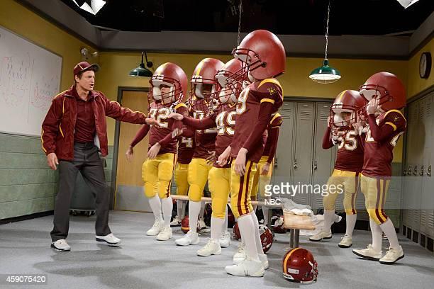 LIVE Woody Harrelson Episode 1668 Pictured Woody Harrelson Taran Killam Jay Pharoah Beck Bennett and Pete Davidson during the Football Halftime...