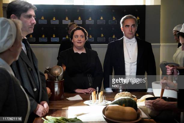 LIVE Woody Harrelson Episode 1768 Pictured Aidy Bryant and Beck Bennett during the Downton Abbey Trailer sketch on Saturday September 28 2019