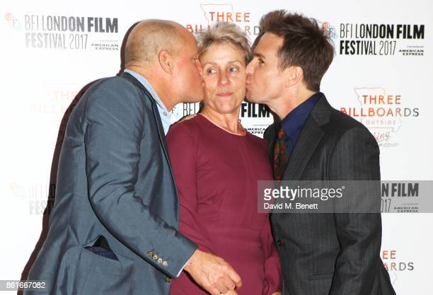 Woody Harrelson Frances McDormand and Sam Rockwell attend the UK Premiere of 'Three Billboards Outside Ebbing Missouri' at the closing night gala of...