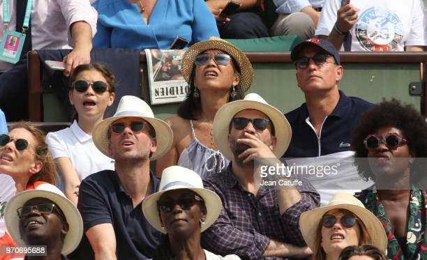 Woody Harrelson his wife Laura Louie and their daughter Makani Harrelson attend the women's final during Day 14 of the 2018 French Open at Roland...