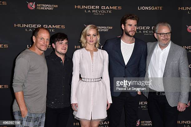Woody Harrelson,Josh Hutcherson,Jennifer Lawrence,Liam Hemsworth and Francis Lawrence attend the The Hunger Games: Mockingjay Part 2 Photocall at...