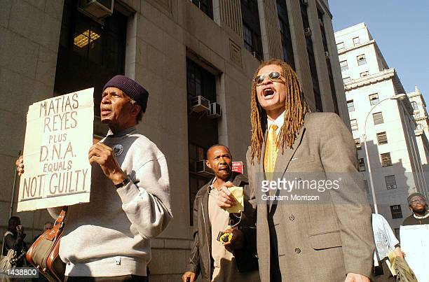 Woody Henderson from the National Action Network leads a protest outside of Manhattan's Criminal Court September 30 2002 in New York City The group...
