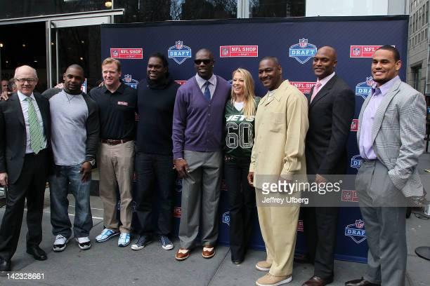 Woody Johnson Ahmad Bradshaw Roger Goodell LeVar Arrington Terrell Owens Suzanne Johnson Derrick Brooks Amani Toomer and Dustin Keller attend the NFL...