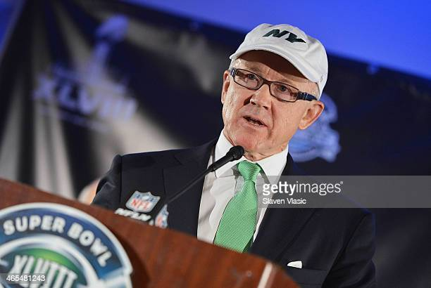 Woody Johnson owner of the New York Jets and CoChairman of the NY/NJ Super Bowl Host Committee attends the Super Bowl XLVIII Week Opening Press...