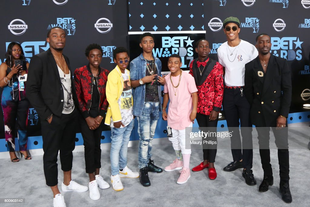 Woody McClain, Caleb McLaughlin, Jahi Di'Allo Winston, Myles Truitt, Dante Hoagland, Tyler Marcel Williams, Keith Powers, and Elijah Kelley of The New Edition Story at the 2017 BET Awards at Microsoft Square on June 25, 2017 in Los Angeles, California.