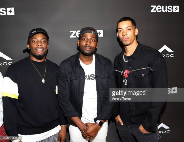 Woody McClain DeStorm Power and Melvin Gregg attend the ZEUS New Series Premiere Party X CIROC Black Raspberry on October 19 2018 in Burbank...