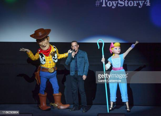 Woody Tom Hanks and Bo Peep attend the European premiere of Disney and Pixar's Toy Story 4 at the Odeon Luxe Leicester Square on June 16 2019 in...