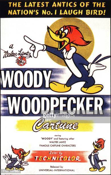 Woody Woodpecker, poster, poster art for animated shorts, text reads: 'The latest antics of the nation's no. 1 laugh bird!, A Walter Lantz cartune',...