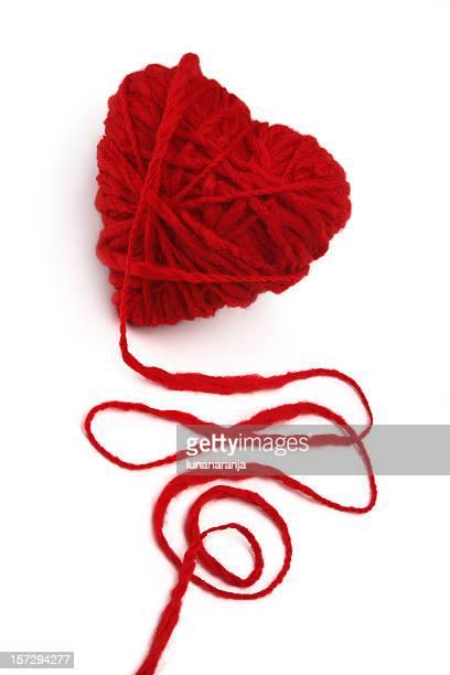 Wool ball of yarn in heart form.