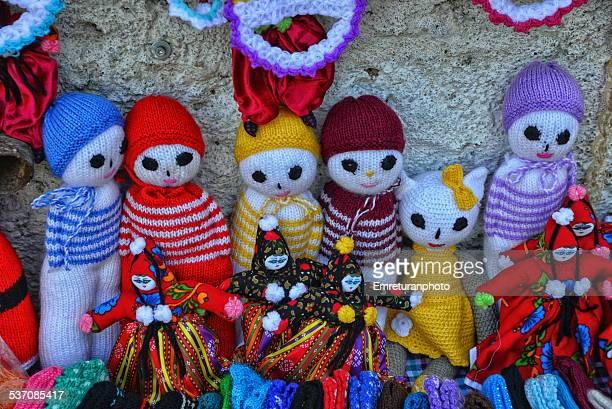 wool dolls for sale in the market - emreturanphoto stock pictures, royalty-free photos & images