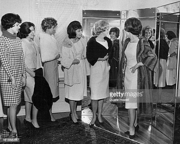 JAN 10 1963 Wool Girls Try Fur The six finalists for sixth annual Miss Wool of Colorado contest switched material Wednesday for fur style show at...