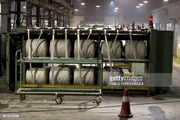 Wool is prepared to be packed for export at Tops Fray Marcos factory in Libertad San Jose 90km west from Montevideo on December 1 2017 Located...