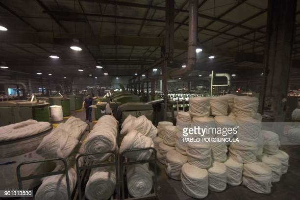 Wool ready to be packed for export is seen at factory in Libertad San Jose 90km west from Montevideo on December 1 2017 Located between Brazil and...