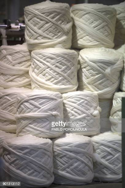 Wool ready to be packed for export is seen at Tops Fray Marcos factory in Libertad San Jose 90km west from Montevideo on December 1 2017 Located...