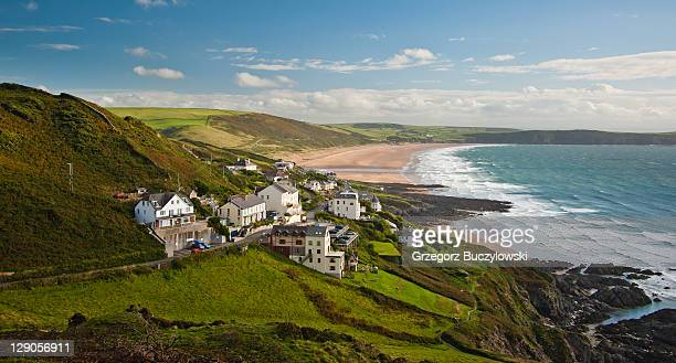 woolacombe beach - devon stock pictures, royalty-free photos & images