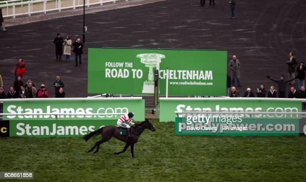 Woolcombe Folly ridden by Ryan Mahonwins the Jenny Mould Memorial Handicap Chase at Cheltenham Racecourse Cheltenham