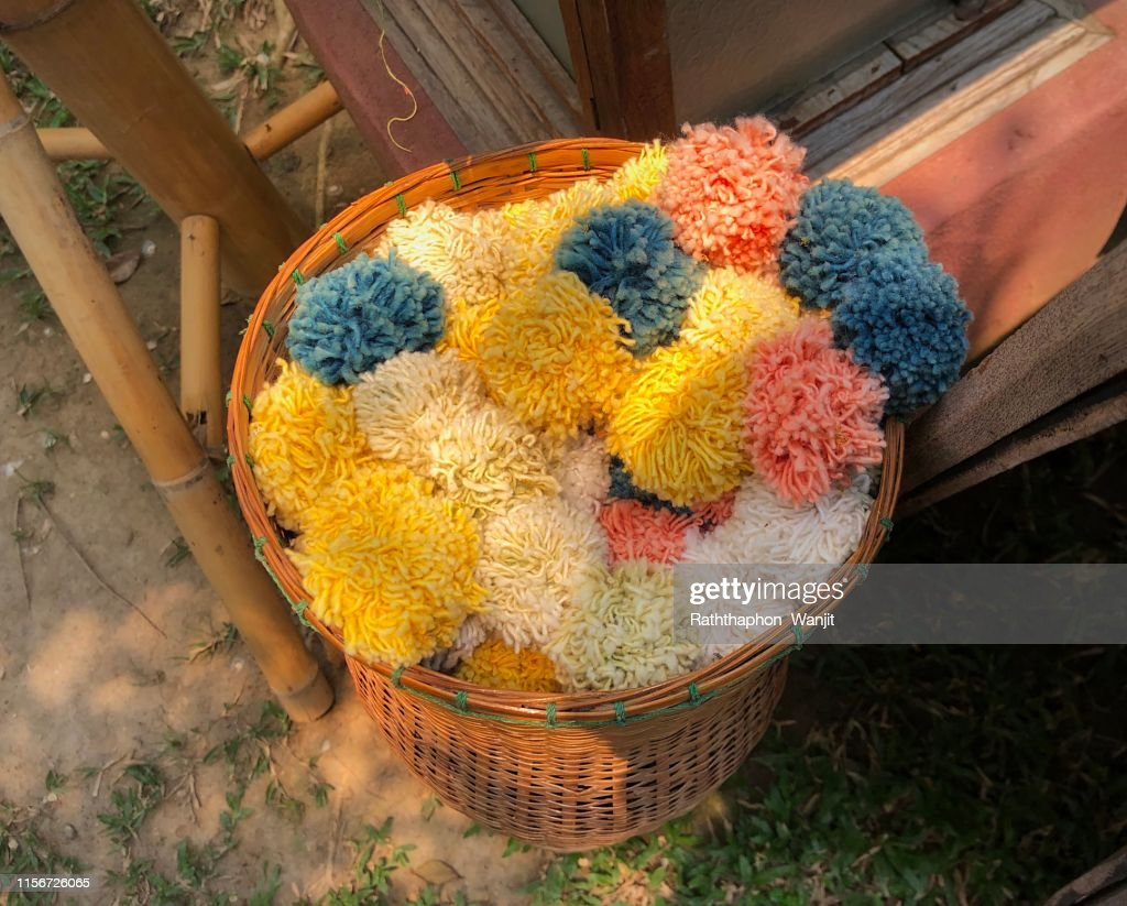Woolen Tread Craft Woolen Flowers In Bamboo Basket High Res Stock Photo Getty Images